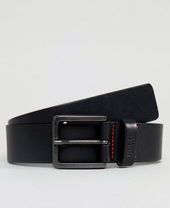 Read more about Hugo logo keeper leather belt in black - 001