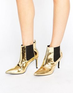 Read more about Office angles gold mirror heeled ankle boots - gold mirror pu
