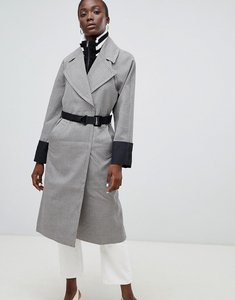 Read more about Asos check coat with tipped rib funnel neck and belt - multi