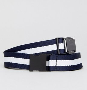 Read more about Stradivarius woven stripe belt in navy and white - navy