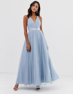 Read more about Asos design premium tulle maxi prom dress with ribbon ties