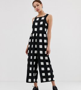 Read more about Asos design tall minimal jumpsuit with ruched waist in mono check print