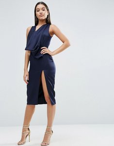 Read more about Asos extreme cowl front cut out back midi dress - navy