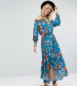 Read more about White cove tall off shoulder floral printed maxi dress with tiered hem - multi