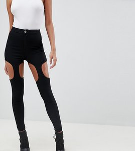 Read more about Asos design rivington high waisted jeggings with suspender detail in clean black - clean black