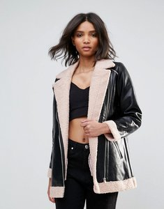 Read more about Goldie phoenix pu aviator style jacket with faux fur lining and zipper detail - black