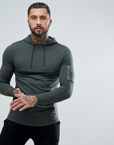 Read more about Asos longline muscle fit hoodie with ma1 pocket and curved hem - khaki
