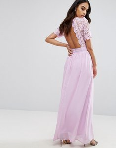 Read more about Club l maxi dress with crochet lace detail cut out back - lilac
