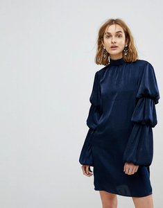 Read more about Lost ink high neck shift dress with tiered ruffle sleeves - navy