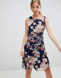 Read more about Qed london floral print skater dress - navy