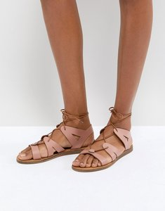 Read more about Office saffy leather gladiator lace up sandals - pink