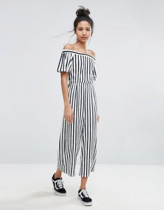 Read more about Bershka wide leg striped culotte jumpsuit - multi