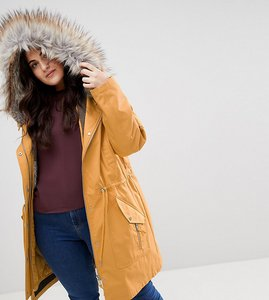 Read more about Asos curve parka with detachable faux fur liner - mustard