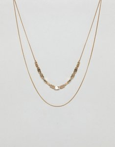 Read more about Asos design swirl charm multirow necklace - gold