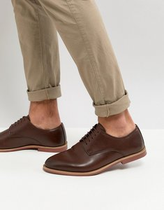 Read more about Asos derby shoes in brown faux leather with contrast sole - brown
