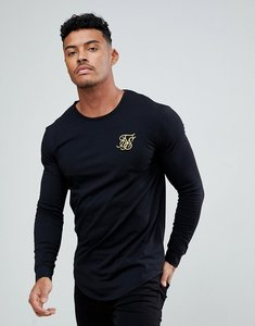 Read more about Siksilk muscle long sleeve t-shirt in black with gold logo - black