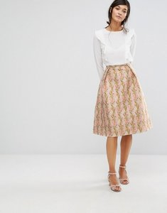 Read more about Oasis floral jacquard midi skater skirt - multi