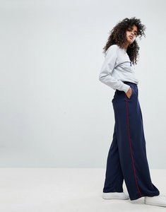 Read more about Asos woven contrast piped track pant - navy