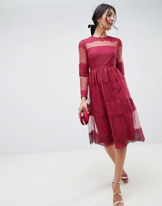 Read more about Asos design premium lace dobby mesh midi dress with long sleeves - oxblood