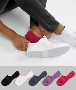 Read more about Asos design invisible liner socks in waffle texture with purple pink 5 pack - multi