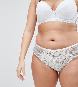 Read more about New look curve cotton lace brazilian brief - white
