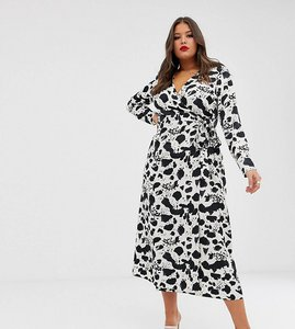 Read more about Asos design curve wrap maxi dress in mono splodge print