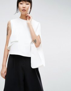 Read more about Asos white crepe one shoulder top with fold detail - white