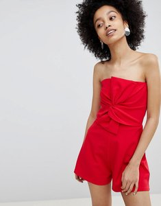 Read more about Miss selfridge bow front bandeau playsuit - red