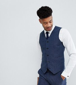 Read more about Asos tall wedding super skinny suit waistcoat in petrol blue herringbone - blue