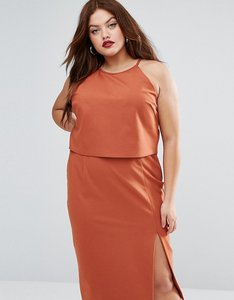 Read more about Lavish alice plus double layer sleeveless halter pencil dress - rust