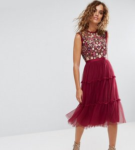Read more about Needle thread high neck midi tulle dress with embroidery and embellishment - cherry
