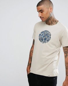 Read more about Pretty green paisley applique logo t-shirt in stone - stone