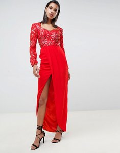 Read more about Virgos lounge darline embellished sweetheart maxi dress with thigh split in red