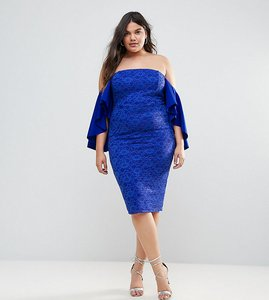 Read more about Asos curve lace bardot midi dress with extreme sleeves - royal blue