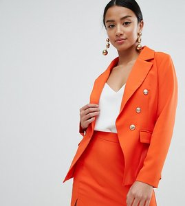 Read more about Missguided petite gold button blazer - orange