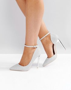 Read more about Glamorous silver ankle strap heeled court shoes - silver