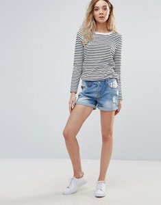 Read more about Vero moda paula embroidered pocket denim shorts - light blue denim