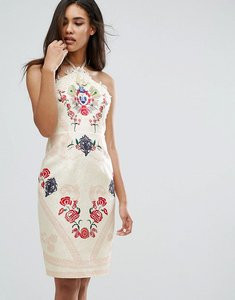 Read more about Comino couture halter neck printed midi dress - cream red