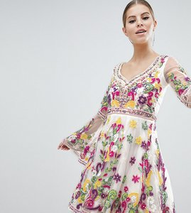 Read more about A star is born multi coloured embellished mini skater dress with fluted sleeve - multi