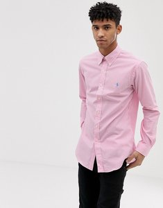 Read more about Polo ralph lauren player logo stripe poplin button down shirt slim fit in pink