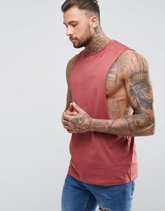Read more about Asos longline vest with extreme dropped armhole - washed ruddy