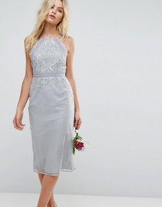 Read more about Asos wedding embellished lace insert pencil midi dress - grey