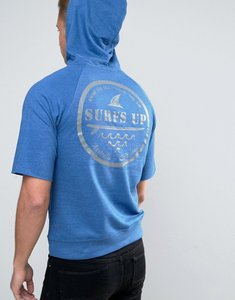Read more about Wetts raw edge mid sleeve hoodie with gold coast back print - blue