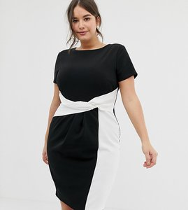 Read more about Paper dolls plus bodycon midi dress in colour block with twisted waist detail in mono