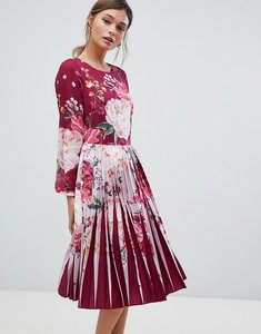 Read more about Ted baker pleated midi dress in serenity floral print - maroon