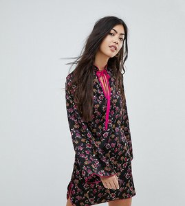Read more about Glamorous petite long sleeve shift dress with high collar in grunge floral - black multi