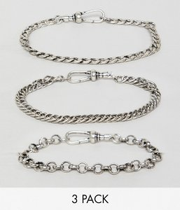 Read more about Reclaimed vintage inspired chain bracelet pack in burnished silver exclusive at asos