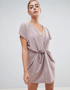 Read more about Missguided knot front dress in nude - nude