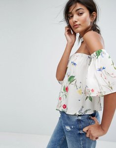 Read more about Bershka floral printed choker detail off the shoulder top - multi