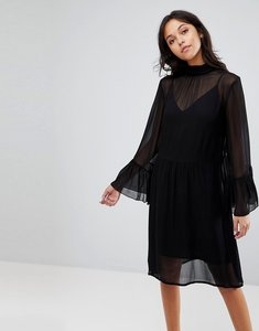 Read more about Gestuz floaty dress with fluted sleeves - black